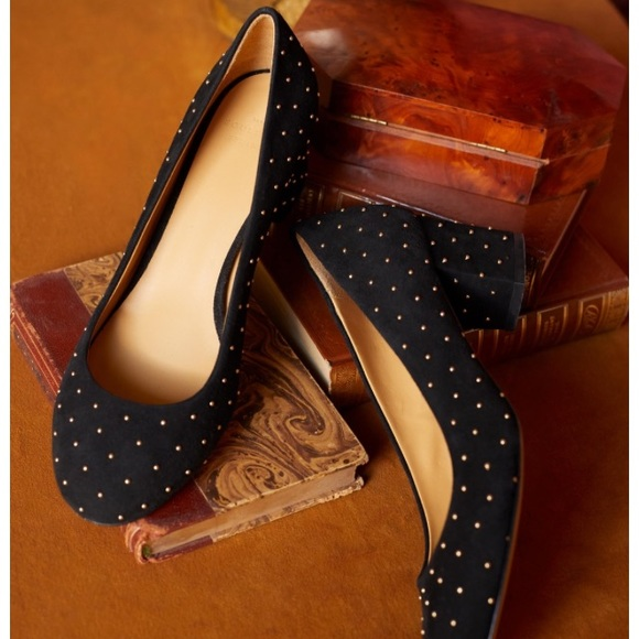 c424de790f5 Sezane Helena Black Studded Block Heel Shoes